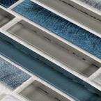Out to Sea 12.5 in. x 12 in. x 8 mm Interlocking Matte Glass/Metal Mosaic Tile