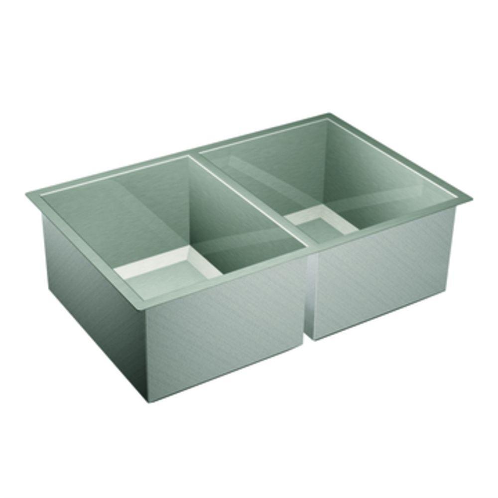 MOEN Lancelot Undermount 31x 20x7 0 Holes Double Bowl Kitchen Sink-DISCONTINUED