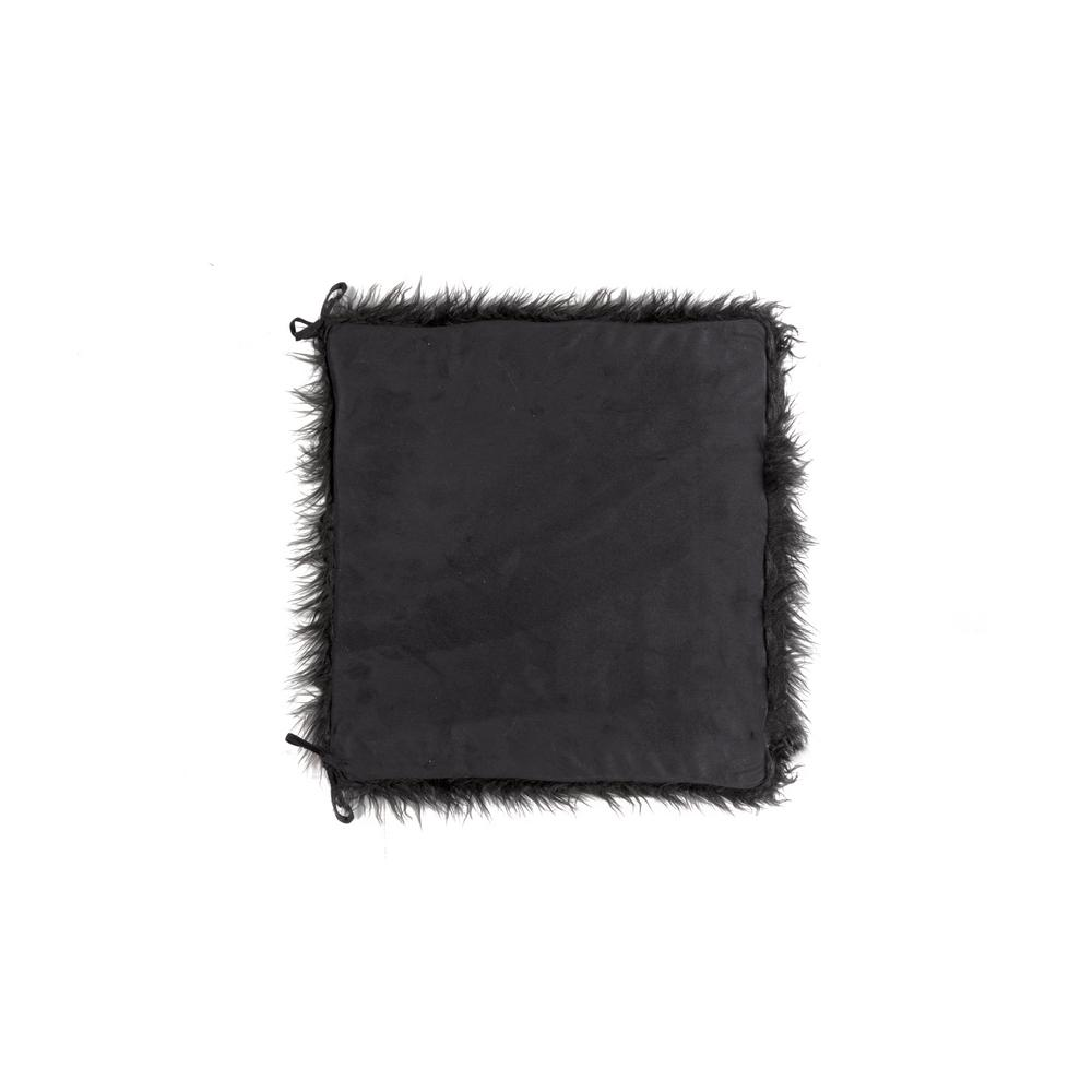 Laredo Black Faux Sheepskin Fur Chair Pad with Ties (Set of