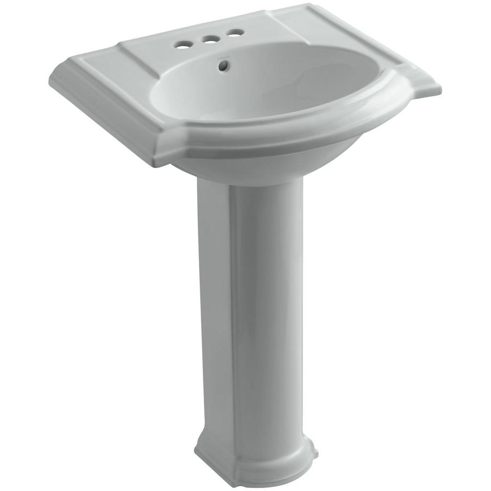 Kohler Devonshire Vitreous China Pedestal Combo Bathroom Sink With 4 In Centerset Faucet Holes