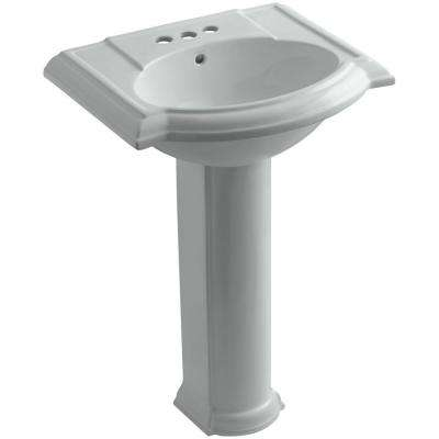 Devonshire Vitreous China Pedestal Combo Bathroom Sink with 4 in. Centerset Faucet Holes in Ice Grey with Overflow Drain