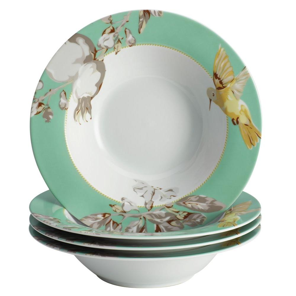 BonJour Dinnerware Fruitful Nectar Porcelain 4-Piece Soup/Pasta Bowl Set  sc 1 st  Home Depot : dinnerware bowls - pezcame.com