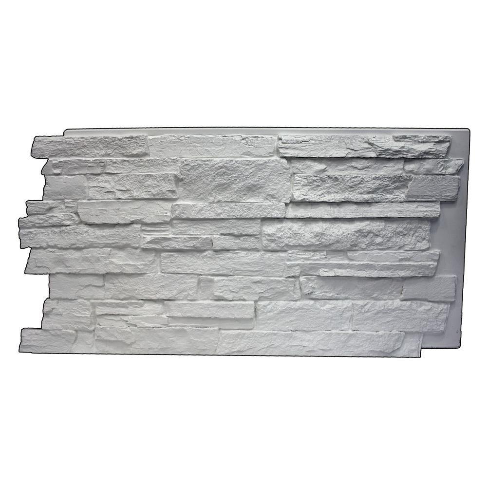 Faux Mountain Ledge Stone 24-3/4 in. x 48-3/4 in. x 1-1/4 in. Panel Dove White