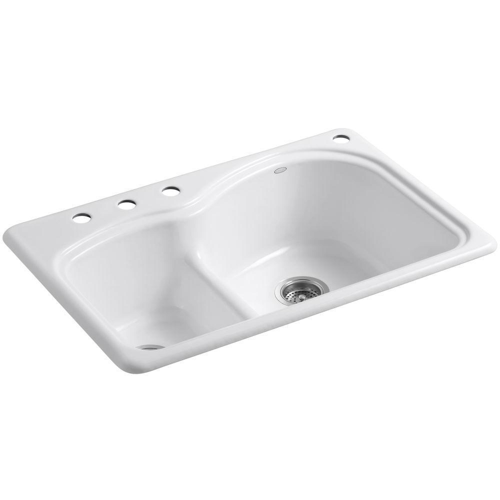 KOHLER Woodfield Smart Divide Drop-In 33 in. 4-Hole Double Bowl Kitchen Sink in White