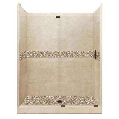 Roma Grand Slider 30 in. x 60 in. x 80 in. Center Drain Alcove Shower Kit in Brown Sugar and Old Bronze Hardware