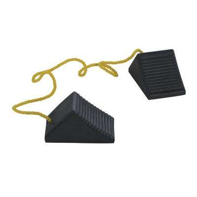 8 in. x 5 in. x 4 in. Rubber Wheel Chock with Rope