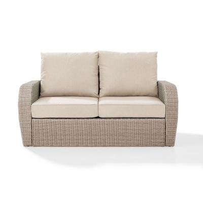 St Augustine Wicker Outdoor Loveseat with Oatmeal Cushion