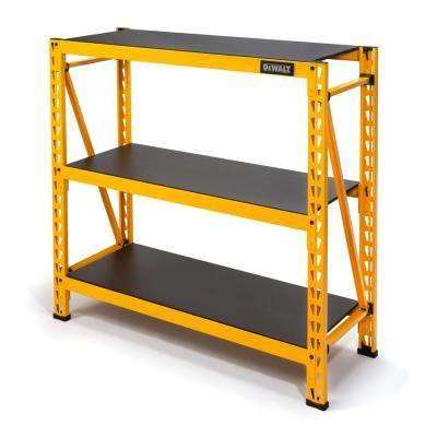 48 in. H x 50 in. W x 18 in. D 3-Shelf Steel / Laminate Expandable Industrial Storage Rack Unit in Yellow