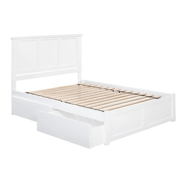 Atlantic Furniture Madison White Queen Platform Bed with Flat Panel Foot