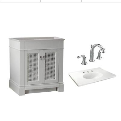 Portsmouth 30 in. Bath Vanity with Fireclay Vanity Top in White with 8 in. Centerset High-Arc Faucet in Chrome