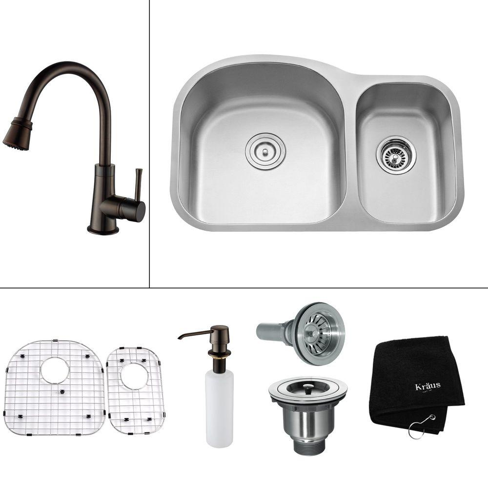 KRAUS All-in-One Undermount Stainless Steel 32.38x20.5x14.9 in. 0-Hole Double Bowl Kitchen Sink with Oil Rubbed Bronze Faucet