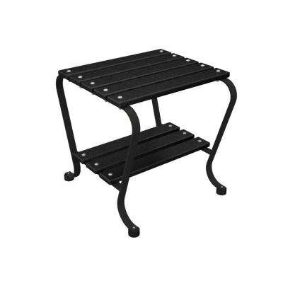 18 in. Black and Black Patio Side Table