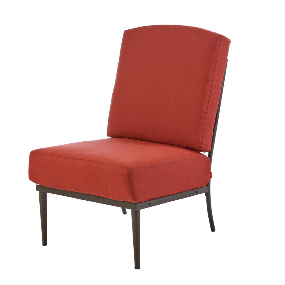 Oak Cliff Patio Metal Armless Lounge Chair with Chili Cushion