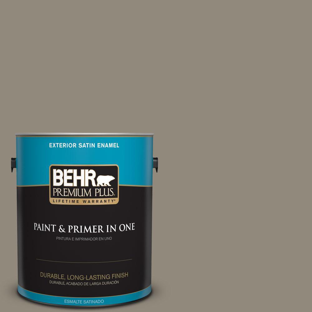 BEHR Premium Plus 1-gal. #PPF-43 Shady Oak Satin Enamel Exterior Paint