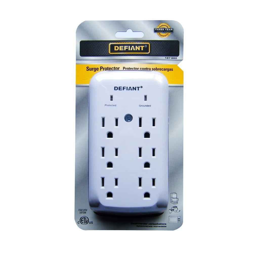 6 Outlet Wall Mount Surge Protector White Ylct 30 The