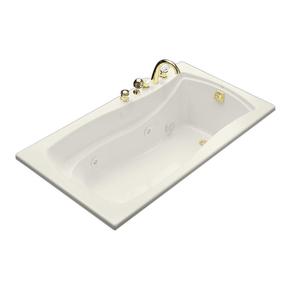 KOHLER Mariposa 5.5 ft. Acrylic Hourglass Rectangular Drop-in Whirlpool Bathtub in Biscuit