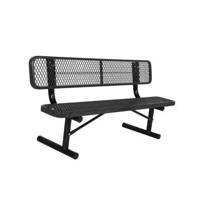 Portable 6 ft. Black Diamond Commercial Park Bench with Back