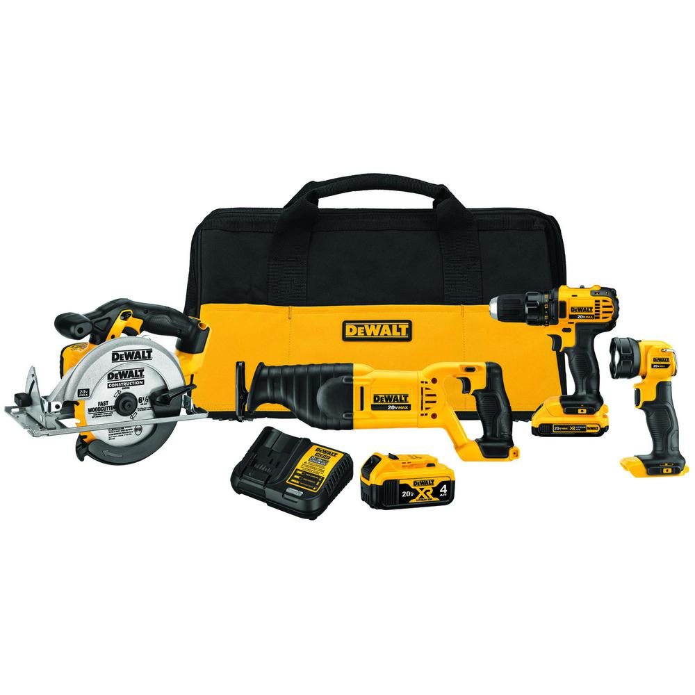 DEWALT 20-Volt MAX Lithium-Ion Cordless Drill/Driver & Saw Combo Kit (4-Tool) w/ (2) 20-Volt Batteries 2.0Ah & Charger