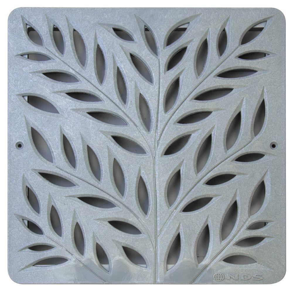 12 in. Plastic Botanical Design Square Decorative Grate in Gray