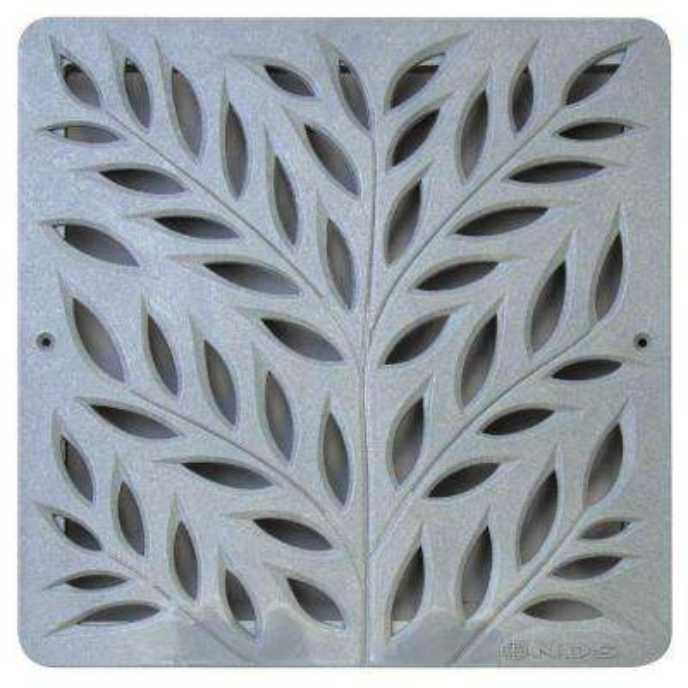 12 in. Plastic Botanical Design Square Decorative Grate in Gray