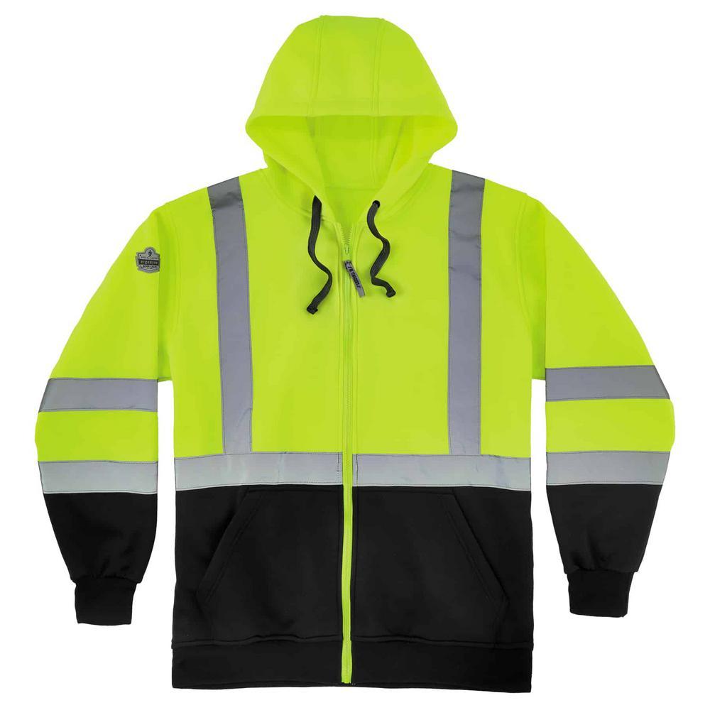 GloWear Men's Medium Lime and Black Class 3 Zip-Up Hi-Vis Hooded Sweatshirt