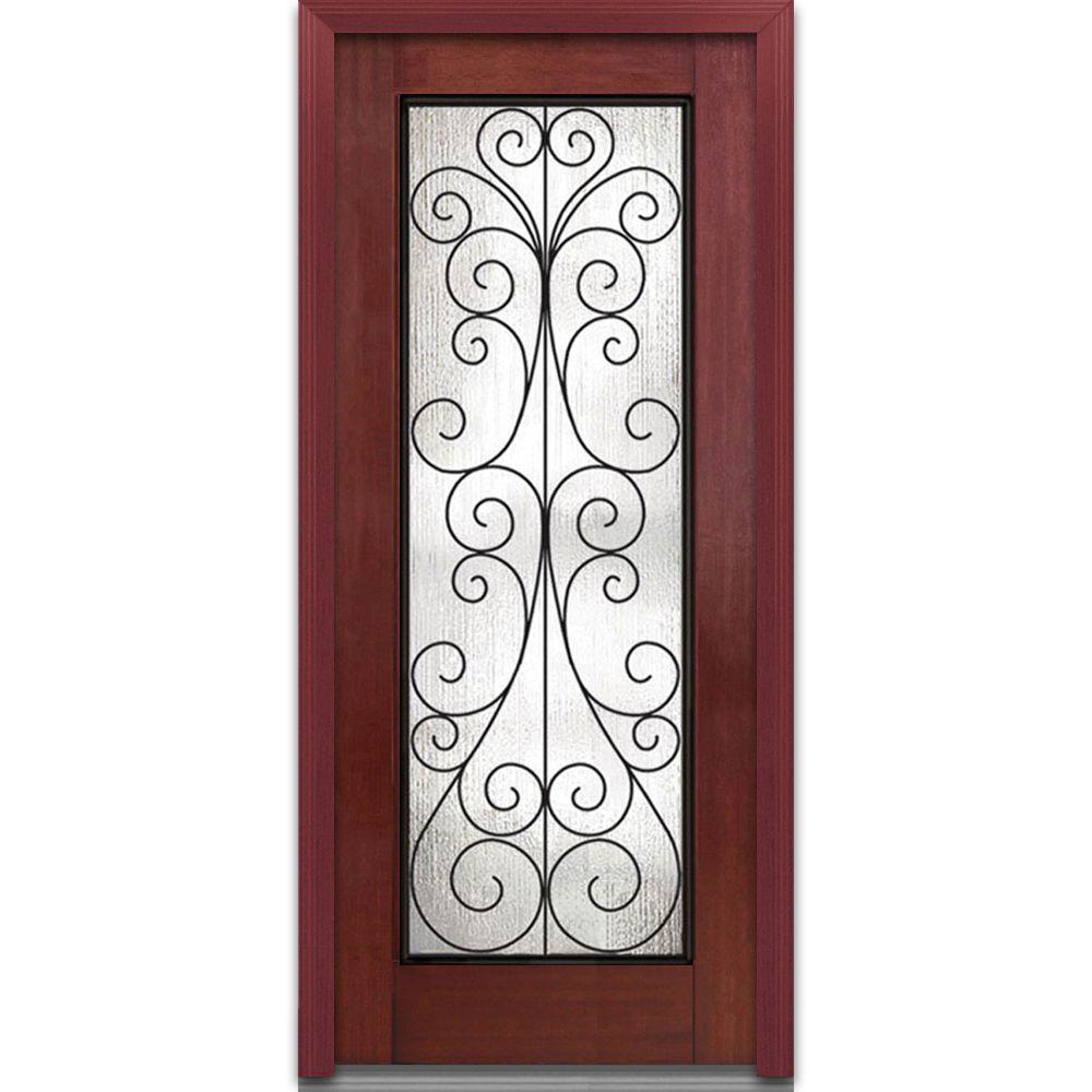 MMI Door 32 in. x 80 in. Camelia Left-Hand Full Lite Midcentury Stained Fiberglass Mahogany Prehung Front Door