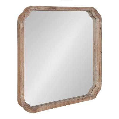 Medium Square Natural American Colonial Mirror (23.62 in. H x 23.62 in. W)