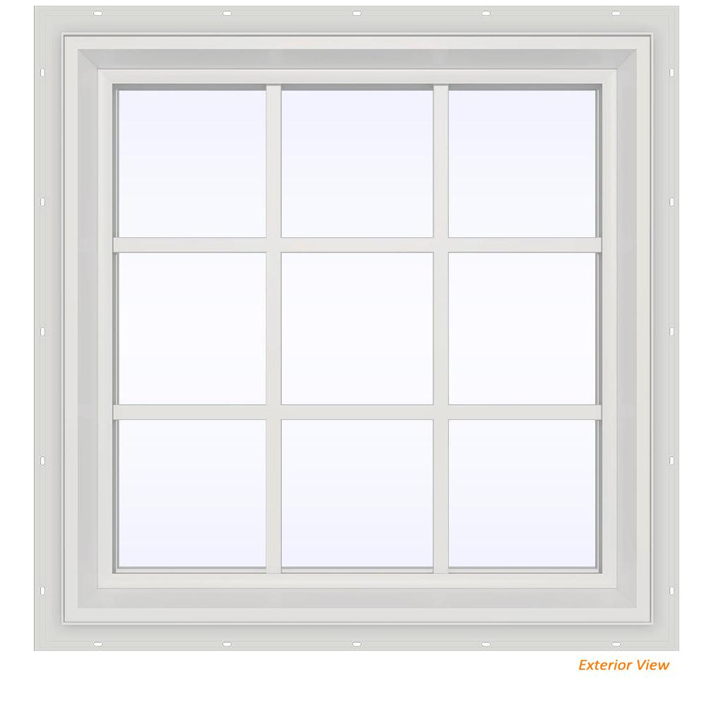 29.5 in. x 29.5 in. V-2500 Series White Vinyl Fixed Picture
