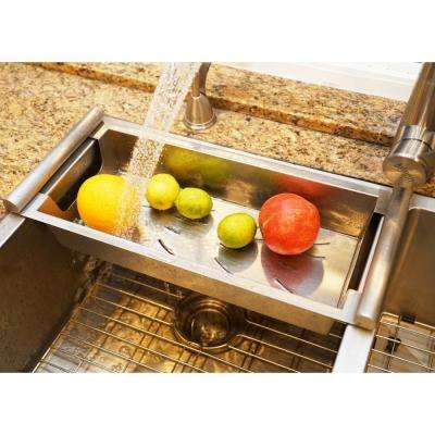Large Modern Kitchen Sink Colander Fits 17 in. Opening in Satin Stainless