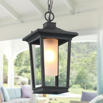 Harper 1-Light Black Modern Outdoor Hanging Lantern with Frosted Cylinder Glass LED Compatible Pendant Light