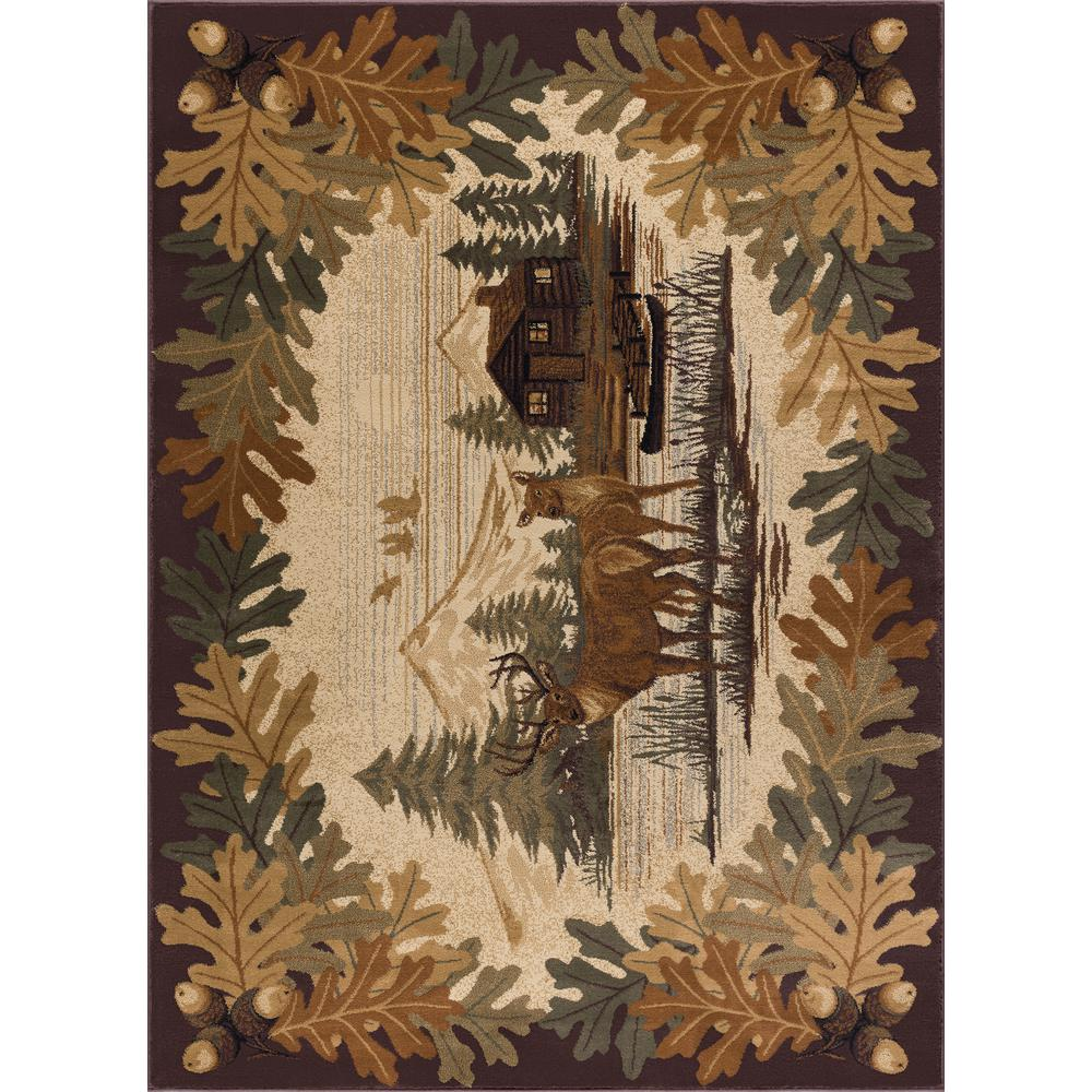 Tayse Rugs Nature Brown 8 ft. x 10 ft. Indoor Area Rug