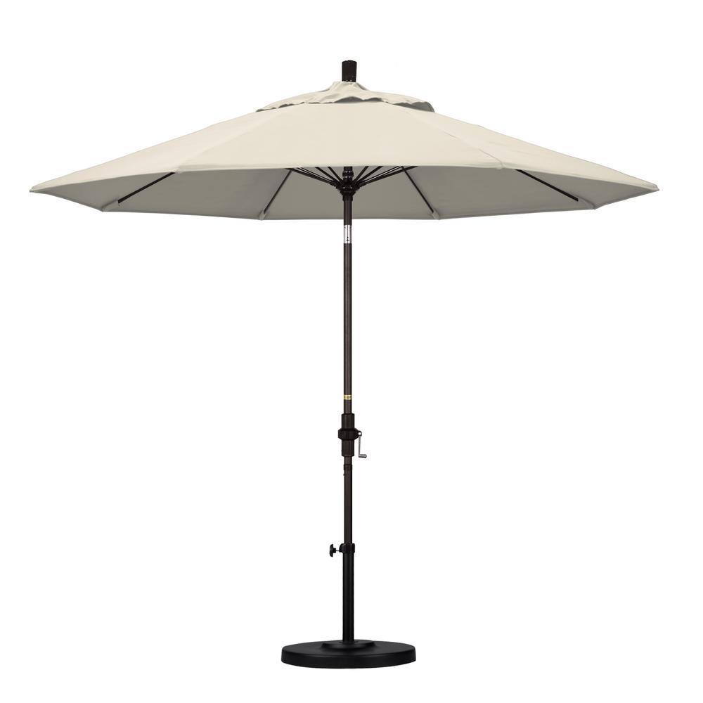 9 ft. Fiberglass Collar Tilt Patio Umbrella in Antique Beige Olefin