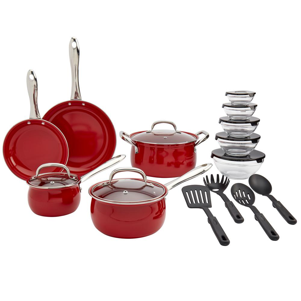 Basic Essentials Carbon Steel 22 Piece Carbon Steel Ceramic Nonstick Cookware Set In Red Tms J1524 Ec The Home Depot