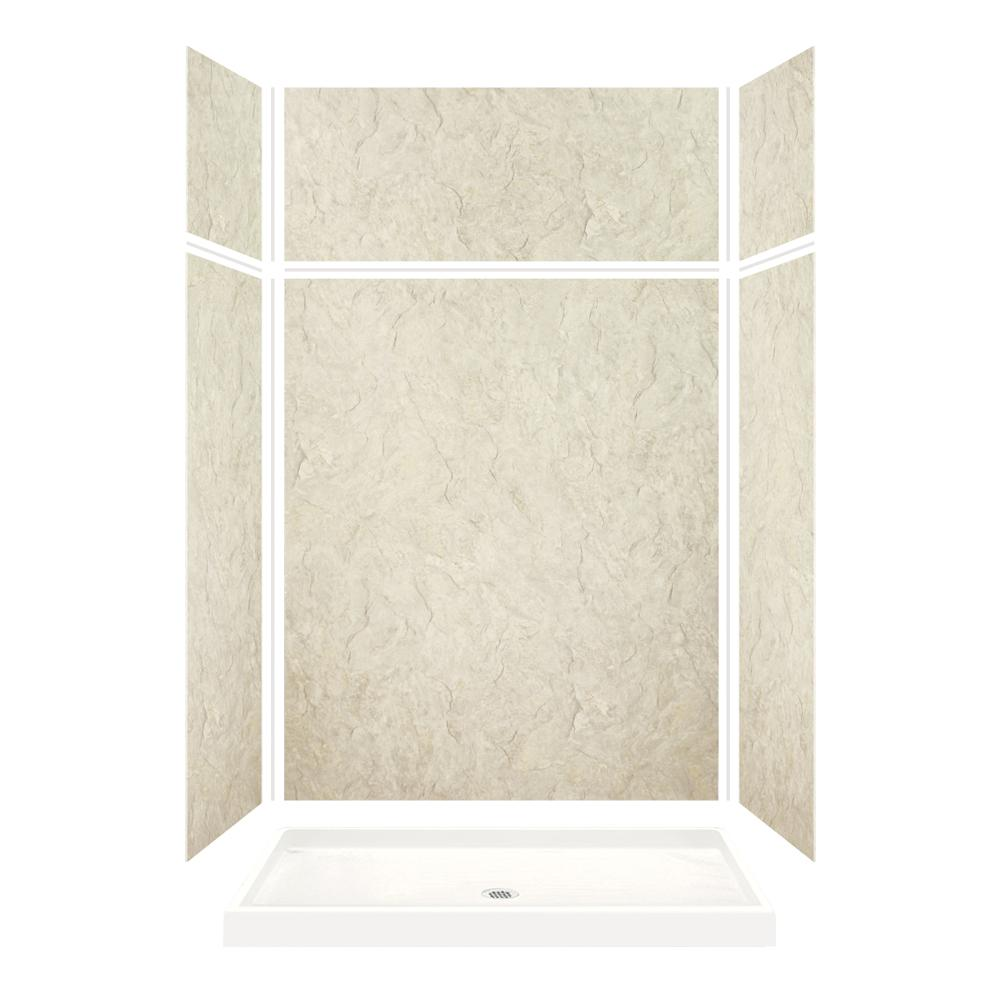 Transolid Expressions 32 in. x 60 in. x 96 in. Shower Kit with Extension and Center Drain in Sea Fog
