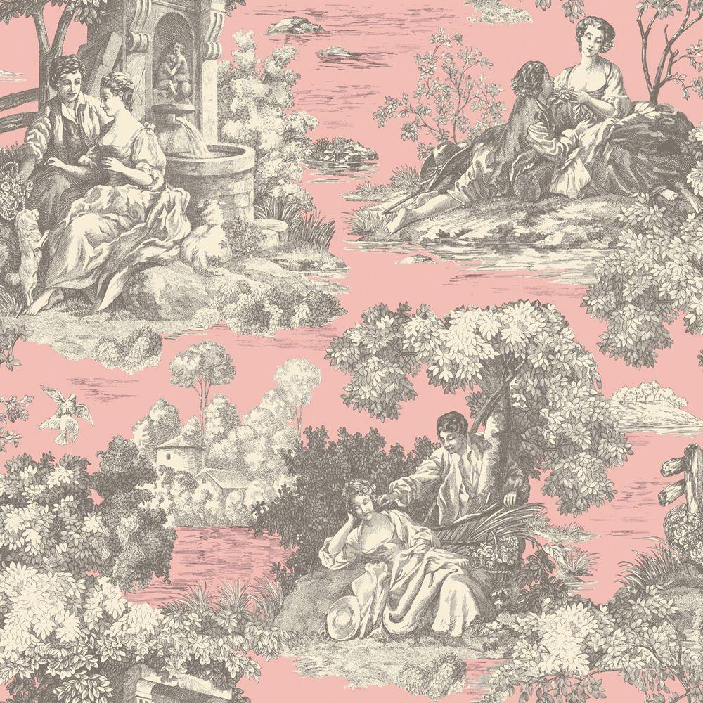The Wallpaper Company 56 sq. ft. Pink Pastel Romantic Toile Wallpaper