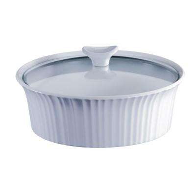 French White 2.5-Qt Round Ceramic Casserole Dish with Glass Cover