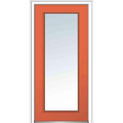 32 in. x 80 in. Classic Left-Hand Inswing Full Lite Clear Glass Painted Fiberglass Smooth Prehung Front Door