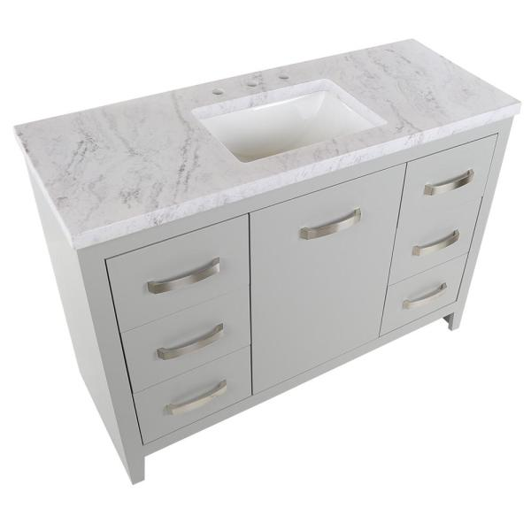 Home Decorators Collection Blakely 49 In W X 19 In D Bath Vanity In Sterling Gray With Stone Effects Vanity Top In Lunar With White Sink Bk48p2 Ly The Home Depot