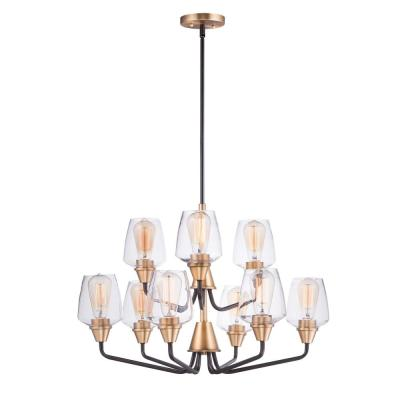 Goblet 27 in. W 9-Light Bronze/Antique Brass Chandelier with Clear Shade