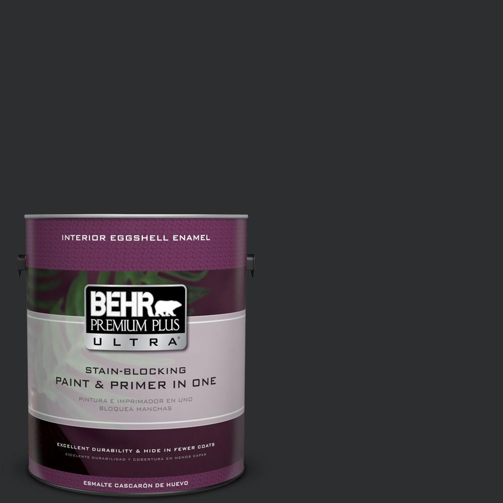 1 gal. #ECC-10-2 Jet Black Eggshell Enamel Interior Paint and Primer