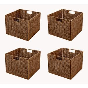 Trademark Innovations 13 In. X 10 In.Foldable Storage Basket With Iron Wire  Frame (4 Set) BSKT SQBR 4X   The Home Depot