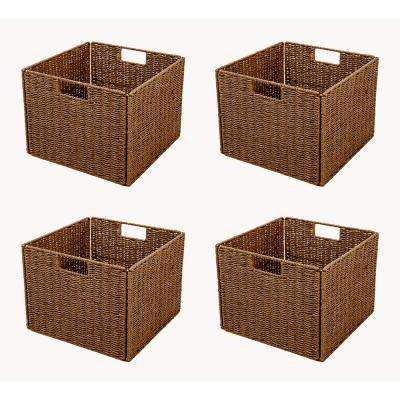 13 in. x 10 in.Foldable Storage Basket with Iron Wire Frame (4-Set)