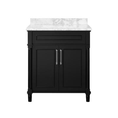 Aberdeen 30 in. x 22 in. D Bath Vanity in Black with Carrara Marble Vanity Top in White with White Basin