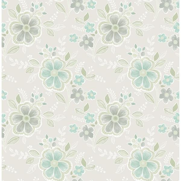 A-Street Chloe Aquamarine Floral Wallpaper Sample 2657-22201SAM