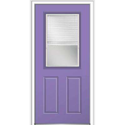 32 in. x 80 in. Internal Blinds Glass Right-Hand Classic 1/2-Lite Clear Painted Fiberglass Smooth Prehung Front Door