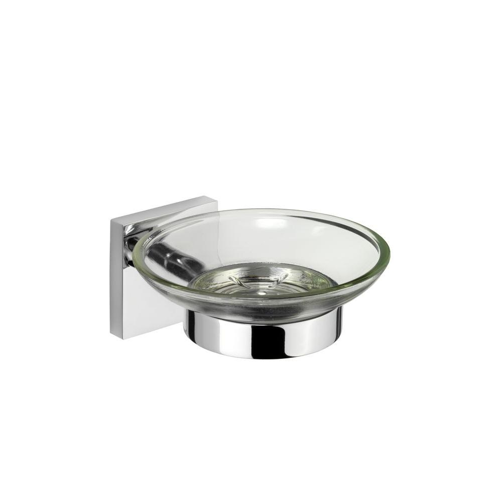 Croydex Chester Flexi-Fix Glass Soap Dish and Holder in Chrome