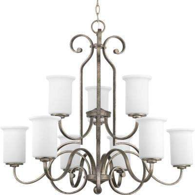 Stroll Collection 9-Light Pebbles Chandelier with Shade with Opal Glass Shade
