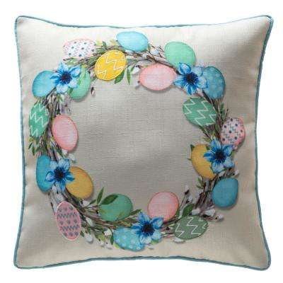 18 in. Easter Spring Egg Wreath Welted Indoor Pillow