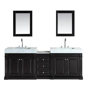 Design Element Odyssey 88 inch W x 22 inch D Double Vanity in Espresso with Marble Vanity Top in Carrara White by Design Element