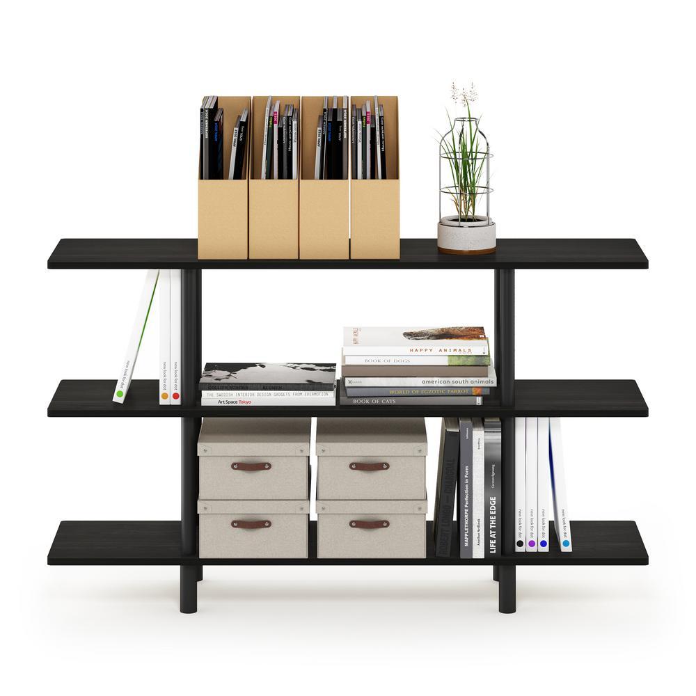 27.83 in. Espresso Plastic 3-shelf Etagere Bookcase with Open Back